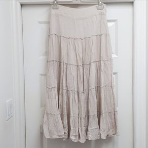 Light sand prairie peasant vintage boho maxi skirt